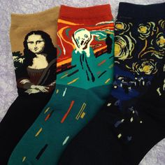 Art socks, from the Mona Lisa to starry night ✨ (instagram: shopalien) // photo from Shop Alien // use the code GEORGIAERB to get some money off Shop Alien, a present from me to you // my instagram: georgia.erb // shop alien. Socks. Art. Aesthetic. Indie. Grunge.