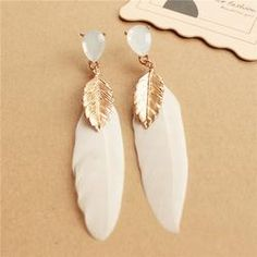 Handmade Elegant Feather Drop Earrings Fashion Women Accessories Vintage Style Alloy Long  Earrings #handshops #handmade #jewelry