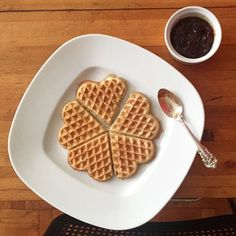 Leavened Faroese waffles, called Vaflur, paired with homemade rhubarb jam.  The Chef Preserving Nordic Cuisine (and Waffles) - The New York Times