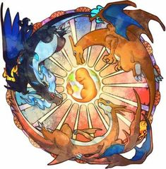 charmander, charizard and their mega evolutions :)