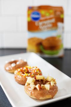 Try this recipe for Baked donuts from a Pillsbury™ Moist Supreme® Caramel Apple Flavored Premium Cake Mix from @allison_waken for a tasty fall treat!