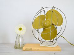 vintage mustard yellow airflow electric desk fan by epochco, $60.00