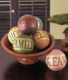 "6 Decorative Ceramic Balls with Words - 1 Home, Believe, Faith, Family, Love and Dream Each Ball is 4"" in diameter"
