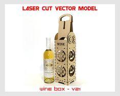 Wine box, Wood wine box, Plywood  wine box, Vine box, Wine gift box, wine holder, Laser cut vector p Wine Gift Boxes, Box Wine, Cnc, Plywood Boxes, Laser Cut Files, Wine Making, Laser Cutting, Bottle Opener, Vines