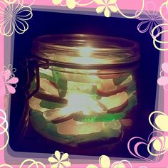 My first diy seaglass candle. Sea Glass, Mason Jars, Candles, Mugs, Tableware, Projects, Diy, Log Projects, Dinnerware