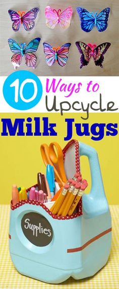 10 Ways to Upcycle Milk Jugs- Fun creative ways to upcycle and recycle old milk jugs.  Crafts, projects and Tutorials
