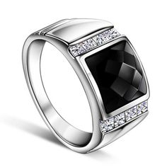 Mens Onyx Silver Wedding Ring with Custom Engraving