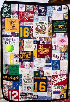 T-shirt quilt. Saving all my sons cool shirts for this- too bad I can't sew.