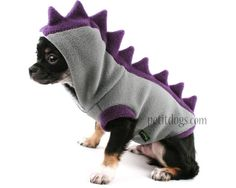 Dog Costume Dinosaur Spikes Grey fleece dog by PetitDogApparel, $35.00