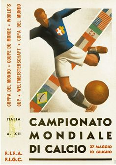 Fifa world cup 1934 soccer italy poster painting art giclee real canvas print Poster Football, Soccer Poster, Football Art, Vintage Football, Football Images, Vintage Italian Posters, Vintage Poster, Vintage Tees, World Cup Logo