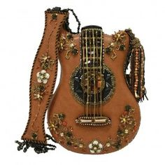 "Beautiful """"Hall of Fame"""" guitar shaped handmade handbag. Incredibly intricate floral details embellished with beads and crystals. Handbag strap includes """"neck"""" of guitar and is embellished with sa"