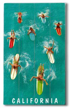 Color study for vintage surfing poster at Huntington Beach Surf Vintage, Vintage Travel, Retro Surf, Vintage Art, Vintage Theme, Surf Mar, Beach House Style, California Surf, Vintage California