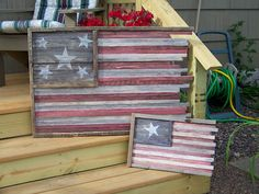 great rustic wood flags