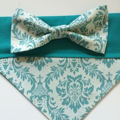 Dog Bandana Teal Damask by SpottedDogShop on Etsy