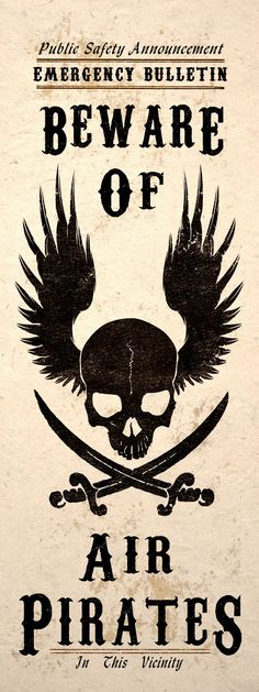 ☆ Steampunk Art Print Beware Air Pirates Skull Jolly Roger Wall Poster ☆