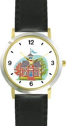 Little Red School House - WATCHBUDDY® DELUXE TWO-TONE THEME WATCH - Arabic Numbers - Black Leather Strap-Size-Children's Size-Small ( Boy's Size & Girl's Size ) WatchBuddy. $49.95. Save 38%!