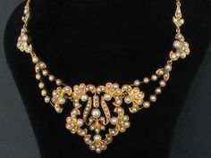 Original Edwardian 15ct Gold Seed Pearl Necklace