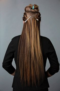 Clip the braids to your ponytail in the back of the head