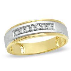 10kt Yellow Gold Mens Round Channel-set Diamond Diagonal Triple Row Wedding Band 1//8 Cttw