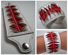 Evónofr fehér és piros bőr karkötő, Ékszer, óra, Karkötő, Meska
