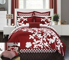 This is one of my favorite king sized comforter sets. I love the soft and fluffy microfiber fabric. If you love the look of a contemporary bedroom then you can not go wrong with this.      Chic Home 11 Piece Iris Reversible large scale floral design printed with diamond pattern reverse King Comforter Set Red With sheet set