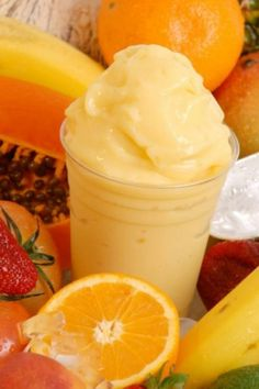 Banana Creamsicle Smoothie - 1 banana, 1/2 cup orange juice, 1 tbsp honey, 1/2 cup vanilla Greek Yogurt, 1 cup ice - Blend all of the ingredients in the blender until smooth. Add more ice if you want a frostier drink.