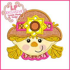 See It All - Happy Scarecrow Girl Applique 4x4 5x7 6x10 7x11 SVG - Welcome to Lynnie Pinnie.com! Instant download and free applique machine embroidery designs in PES, HUS, JEF, DST, EXP, VIP, XXX AND ART formats.