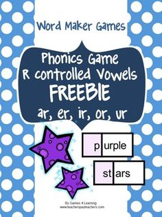 Phonics Game R Controlled Vowels FREEBIE is a Word Maker Board Game from Games 4 Learning
