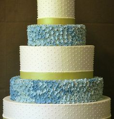 Blue Hydrangea Flowers & Green Ribbons Tiered Wedding Cake