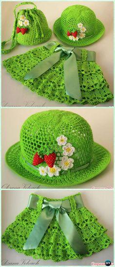 Crochet Summer Berry Meadow Hat Skirt Free Pattern - Crochet Girls Skirt Free Patterns