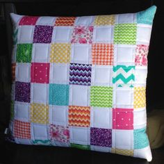 Handmade quilted pillow cover patchwork by LizTaylorHandmade Diy Pillow Covers, Diy Pillows, Decorative Pillows, Throw Pillows, Patchwork Cushion, Quilted Pillow, Quilting Projects, Sewing Projects, Pillowcase Pattern