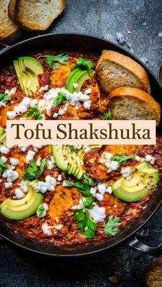 Tofu Recipes, Vegan Dinner Recipes, Fall Recipes, Gluten Free Recipes, Vegetarian Recipes, Extra Firm Tofu, Fire Roasted Tomatoes, Fresh Garlic, Tomato Sauce