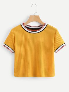 SheIn offers Colorful Striped Cuff Tee & more to fit your fashionable needs. Girls Fashion Clothes, Girl Outfits, Fashion Outfits, Clothes For Women, Womens Fashion, Fashion 2018, Ladies Fashion, Ladies Clothes, Cheap Clothes