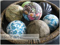 Decorative Orbs -- strips of decorative fabric wrapped and glued over styrofoam balls.