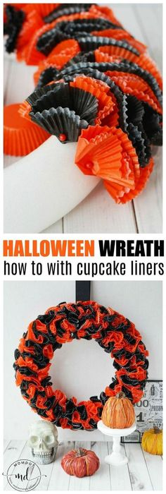 to make a Halloween Wreath How to Make a Halloween Wreath with Cupcake Wrappers.How to Make a Halloween Wreath with Cupcake Wrappers. Cute Halloween Costumes, Diy Halloween Decorations, Spooky Halloween, Halloween Crafts, Halloween Party, Holiday Crafts, Diy Halloween Wreaths, Halloween Pumpkins, Mickey Halloween