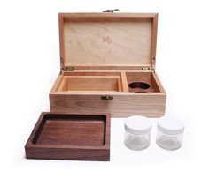 Handcrafted birch and walnut stash box with rolling/serving tray and storage jars. Laser engraved lid.