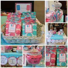 Pink Aqua Twinpop Popsicle Themed Twin Baby Shower; NBrynn DimplePrints