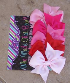 Valentines day hair bows / set of 5 / hairbows infant toddler big girl