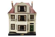A G & J Lines for Gamages Wooden Dolls' House No painted cream with large central two-store Two Store, Antique Dollhouse, Dormer Windows, The Saleroom, Glitter Houses, Wall Papers, Old Dolls, Wooden Dolls, Miniature Houses