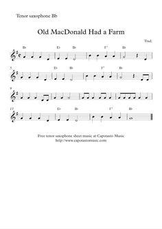 Free Sheet Music Scores: Free easy tenor saxophone sheet music - Old MacDonald Had a Farm