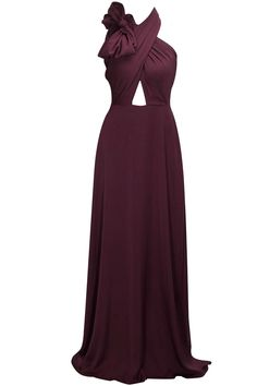 Grape purple cross drape bow detailed gown by Lola by Suman B.  Shop at : http://www.perniaspopupshop.com/designers/lola-by-suman    #shopnow #perniaspopupshop #lolabysuman