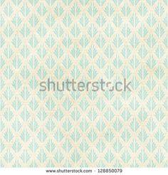 Seamless vintage wallpaper pattern on paper texture. Stencil background.