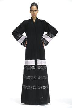 Ultimate mix and match abaya, multiple arabesque designs in laser cut and hand embroidery on silk. Kaftan Abaya, Caftan Dress, Hijab Dress, Blouse Dress, Hijab Outfit, Kimono, Moslem Fashion, Arab Fashion, Islamic Fashion