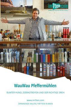 """Er würzt sein Essen am liebsten mit Pfeffer und Chilli, hört von allen Neubauer Unternehmern, die keinen Gastrobetrieb führen, den Satz """"Host an Kaffee füa mi?"""" am häufigsten und führt man sich seinen Drive vor Augen, erinnert seine Machart an einen Pitching Wedge – den Golfschläger, der den Ball aus einer schwierigen Grube zu befördern vermag. Die Rede ist von Thomas Kreuz, Designer und 360-Grad-Advokat von WauWau Pfeffermühlen in Wien Neubau. 360 Grad, Bunt, Liquor Cabinet, Designer, Shops, Shopping, Pedestrian Crossing, New Construction, Kaffee"""