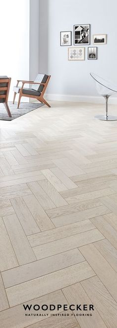 Whitened Oak Wander barefoot along the pale, rolling tones of this graceful parquet floor. Get a free sample at our website.Wander barefoot along the pale, rolling tones of this graceful parquet floor. Get a free sample at our website. Living Room Flooring, Kitchen Flooring, Interior Design Living Room, Oak Parquet Flooring, Wooden Flooring, Herringbone Wood Floor, Herringbone Pattern, Floor Patterns, Floor Design