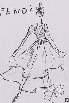 Simple Karl Lagerfeld fashion illustration for Fendi Couture Fashion, Fashion Art, High Fashion, Fashion Photo, Karl Lagerfeld, Fashion Design Sketches, Fashion Drawings, Fashion Illustrations, Fashion Designers