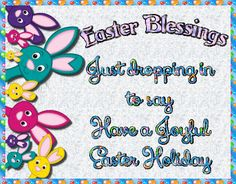 Cute card with an assortment of bunnies to wish anyone a happy Easter. Free online Dropping In For Easter Blessings ecards on Easter Easter Messages, Easter Wishes, Thank You Wishes, Tatty Teddy, Name Cards, Handmade Decorations, Easter Baskets, Card Sizes, Happy Easter