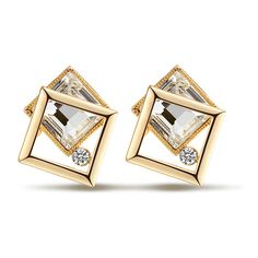 Golden Plated Zircon Inserted Stud Earrings (2,490 DOP) ❤ liked on Polyvore featuring jewelry, earrings, golden jewellery, golden earring, zircon jewelry, golden jewelry and zircon earrings