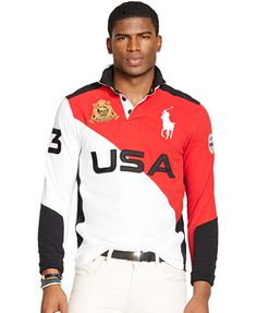 Polo Ralph Lauren Custom-Fit Snow Polo Color-Blocked Rugby Shirt