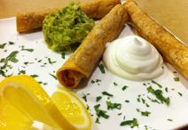 Hand made taquitoes with organic ingredients like pasture raised beef, free range chicken or organic vegetables, baked crisp Crisp Food, Free Range, Organic Vegetables, Catering, Beef, Treats, Dishes, Chicken, Baking